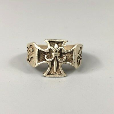 Antique Collectible Old Tibet Silver Handwork Cross Of Jesus Chinese No.9.5 ring