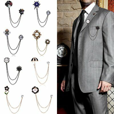 Fashion Mens Wdeeing Silver Chain Tassels Suit Brooch Lapel Pin Neck Collar Tip