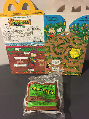 1989 McDonald's McDonalds Peanuts Happy Meal 1 Box and 1 Unopened Toy