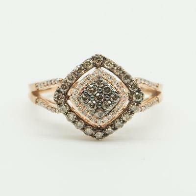 1.02ctw Chocolate H-SI Diamond 14k Rose Gold/Sterling Silver Cocktail Ring 4.9g