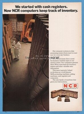 1969 National Cash Register NCR computers keep track of inventory photo print ad