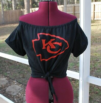 4933313a4fa7a0 Kansas City Chiefs Off Shoulder Cropped Shirt Top Tie Waist Upcycled S M