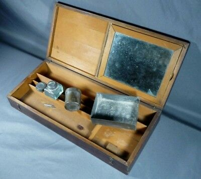 ANTIQUE 1830's WOODEN TRAVEL WRITING LAP, DOCUMENT BOX w/ INK WELL, TINS, MIRROR