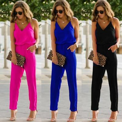Women Ladies Wide Legs Pocket Jumpsuit V-neck Romper Trousers Pants Clubwear Hot