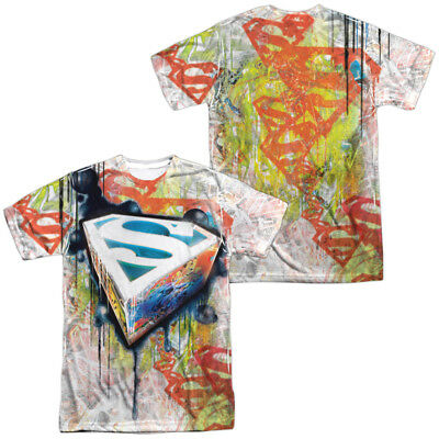 Authentic Superman Drip /& Repeat Logo Shield Sublimation Allover Front T-shirt