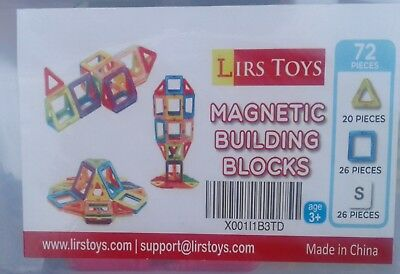 72 Pc Magnetic Tiles Building Blocks Education Toys for Kids Baby Gift+container