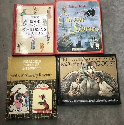 LOT OF 4 VINTAGE CHILDREN'S HARDCOVER BOOKS/Mother Goose/Fairy Tales