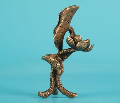 Unique Chinese Bronze Statue Lotus Leaf Solid Home Decoration Gift Collection