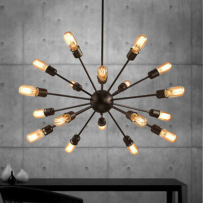 Sputnik Chandelier Black Mid Century Industrial Ceiling Lamp Pendant Lighting