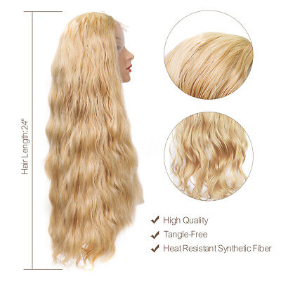 24'' Women Lady Natural Wavy Lace Front Wig Golden Blonde Curly Synthetic Hair