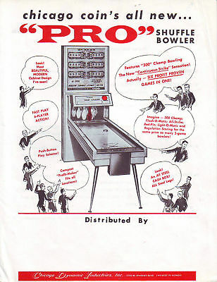 Chicago Coin Pro Orig. Shuffle Alley Sales Flyer 1961