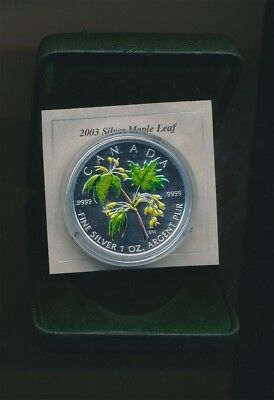 Canada: 2003 1oz 9999 Silver Maple Leaf Coloured $5 Coin, Cased with Cert