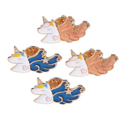 4x Fashion Women Cute Cartoon UNICORN Enamel Lapel Pin Brooch Jewelry