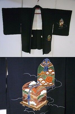 Japanese Vintage Black Silk Kimono Haori Jacket Beautiful Tsuzura Box Pattern