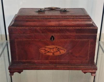 Superb George III Chippendale Period Tea Caddy with Inlaid with Shell  C 1760+