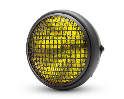 Headlight for Triumph Cafe Racer Scrambler Black Mesh Grill Yellow Lens 55W 7.7""