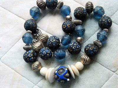 Ancient Islamic Eye and Pyu Glass Beads Necklace with Sterling Silver