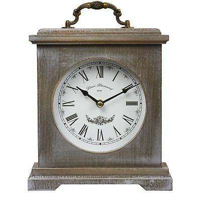 vintage Washed Wood Mantle Clock Rustic Country roman numerals Clock Reyenay