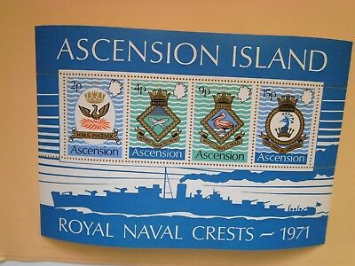 ASCENSION ISLAND: 1971 Navy Crests(3rd series) 4 values & Sheet MNH Sg149/MS153