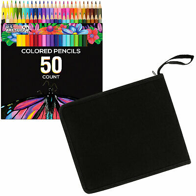 50 Piece Adult Coloring Book Art Drawing Colored Pencils with Case