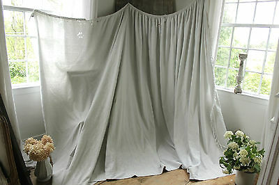 Antique French LARGE bed curtain grey - white damask w/ trim 19th century !