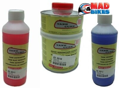 Tank Cure Fuel Tank Sealing Kit, 450g Epoxy Sealant, Cleaner & Rust Remover