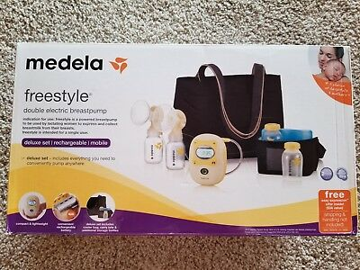 Medela Freestyle Double Electric Breast Pump Deluxe Set Rechargeable Mobile Bag
