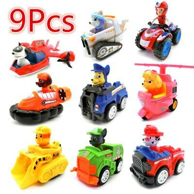 9 Pcs Paw Patrol Puppy Dogs Car Toy Movable Joints Figure Dolls Kids Toy Car Set