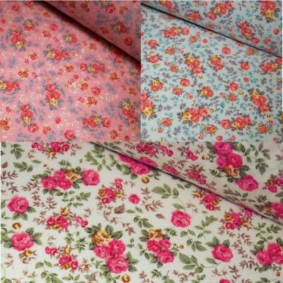 100% Cotton Poplin Fabric Rose & Hubble Rosie's Pretty Roses Flower Floral