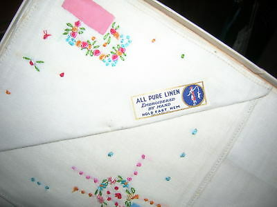 2 Lovely Vintage Hand Embroidered & Appliqued Pure Linen Handkerchiefs In Box
