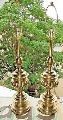 Pair of Brass Trophy Urn Hollywood Regency Stiffel Lamps Signed