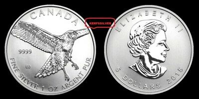 2015 Silver Red Tailed Hawk - Birds Of Prey {Unc}  1 Oz .9999 Canada Silver Coin