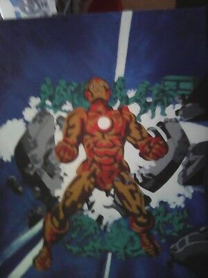 Marvel the Invincible Iron Man gold and crimson armor painting on canvas