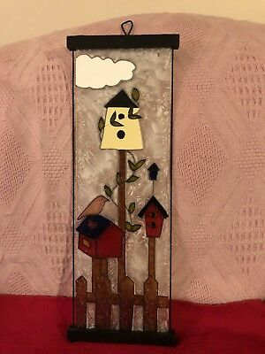 "16.5"" X 5.5"" Art Glass Hanging Panel Birdhouses. Country Decor"