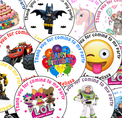 Personalised Birthday Stickers Labels Thank You For Coming To My Party Bag Seals