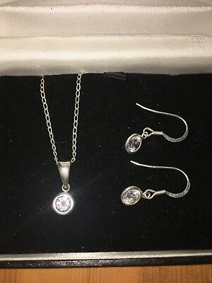 Sterling Silver .925 & Diamond Necklace & Earrings Set **LOVELY**