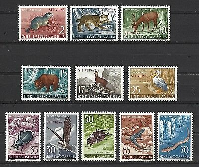 Yugoslavia Trieste Zone B Sc#93-103, Animals, Birds, Insect Types of 1954 MNH OG