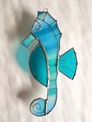 Turquoise Seahorse Stained glass suncatcher window wall decor ocean sealife gift