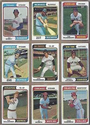 1974 Topps LOT OF 610 DIFFERENT *PICK ANY 10 TO COMPLETE YOUR SET* EX TO EX-NMT