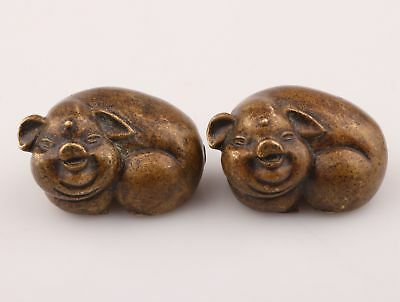2 Unique China Bronze Statue Figurines Animal Pig Mascot Collection Decoration