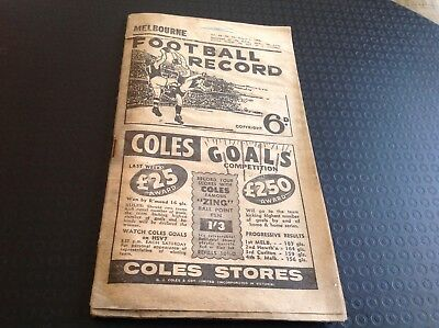 1959 Football Record Melbourne v Fitzroy