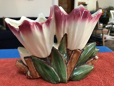ANTIQUE Rare Vintage Original McCoy Double Tulip Vase, White, Green, Red