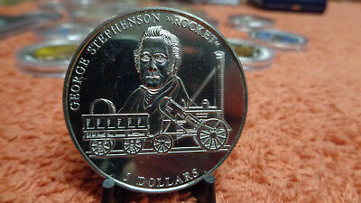 Liberia 2000 5 Dollar George Stephenson Rocket Railway Eisenbahn 40mm