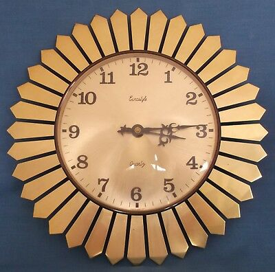 Vintage Starburst Sunburst Wall Clock Eurastyle Germany Metamec Style Working
