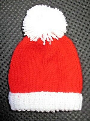 Hand knit NEWBORN SIZE - 3 MONTHS BABIES HAT Bobble Top RED & WHITE Football