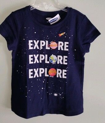 NEW Old Navy Girls 3T / 5T Short Sleeve SPACE Tee Navy Blue EXPLORE #21419