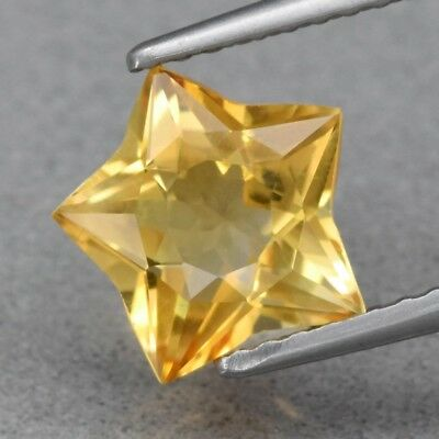 Top! VVS 1.53ct 8.6x8mm Star Natural Yellow Citrine, Brazil
