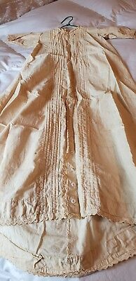c 1900 Vintage Baby Christening Gown, Buttoned, pleated front, eyelet trim