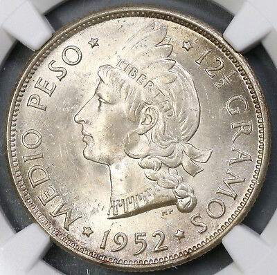 1952 NGC MS 65 Dominican Republic 1/2 Peso Silver Coin (19012101C)