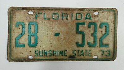 Vintage 1973 Florida Sunshine State Auto License Plate Car Tag Hot Rod 28 - 532